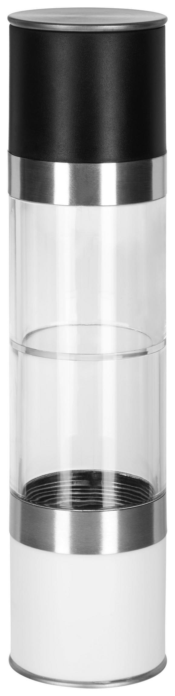 Salz- und Pfefferstreuer Pippa Schwarz/Weiß - Edelstahlfarben/Transparent, Keramik/Kunststoff (5/22cm) - Mömax modern living