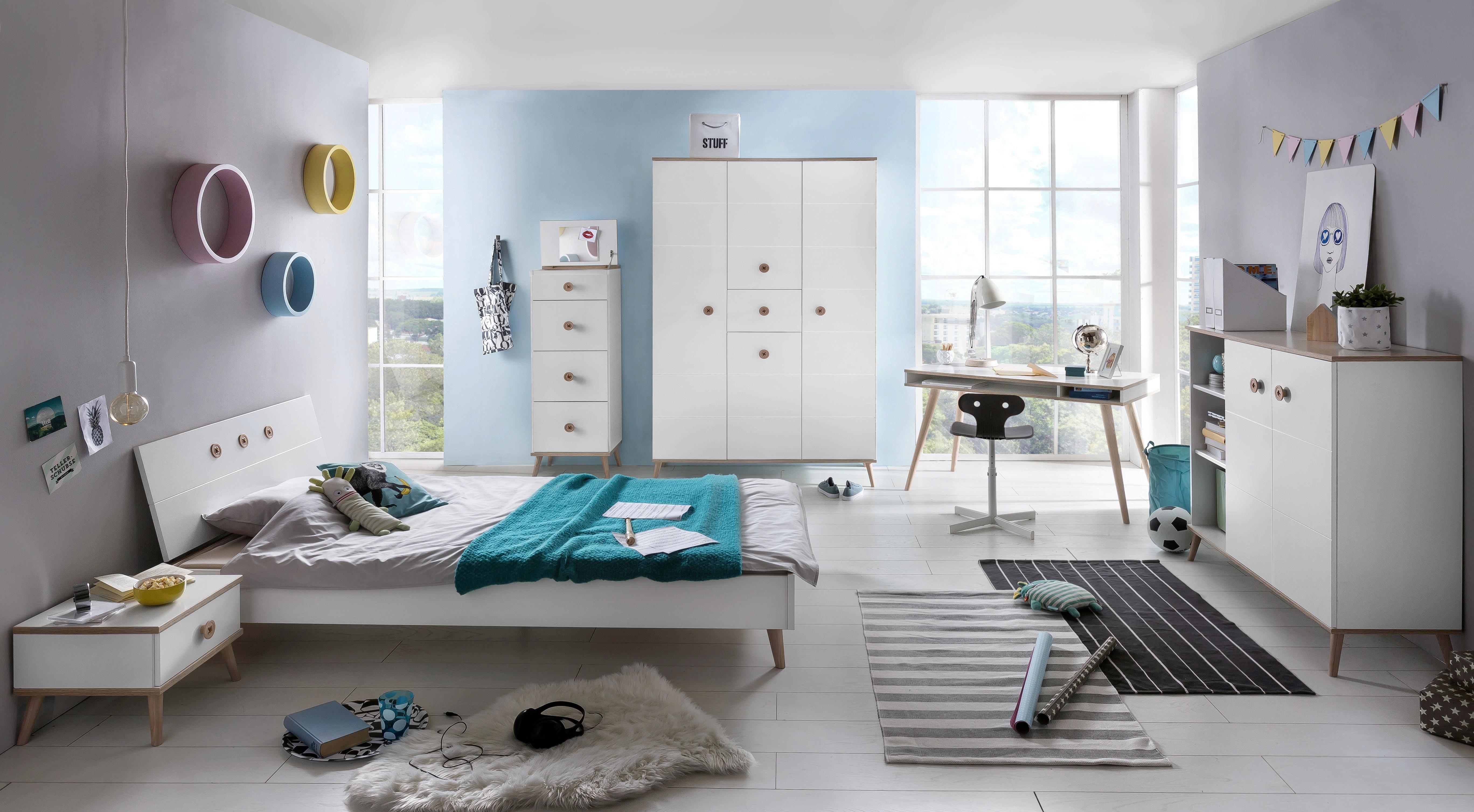 Kommode in Weiß aus Holz - Eichefarben/Weiß, MODERN, Holz/Holzwerkstoff (46/121/40cm) - MODERN LIVING