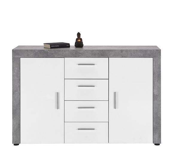 Komoda Beton - bela/svetlo siva, Trendi, umetna masa/leseni material (134/86/40cm) - Mömax modern living