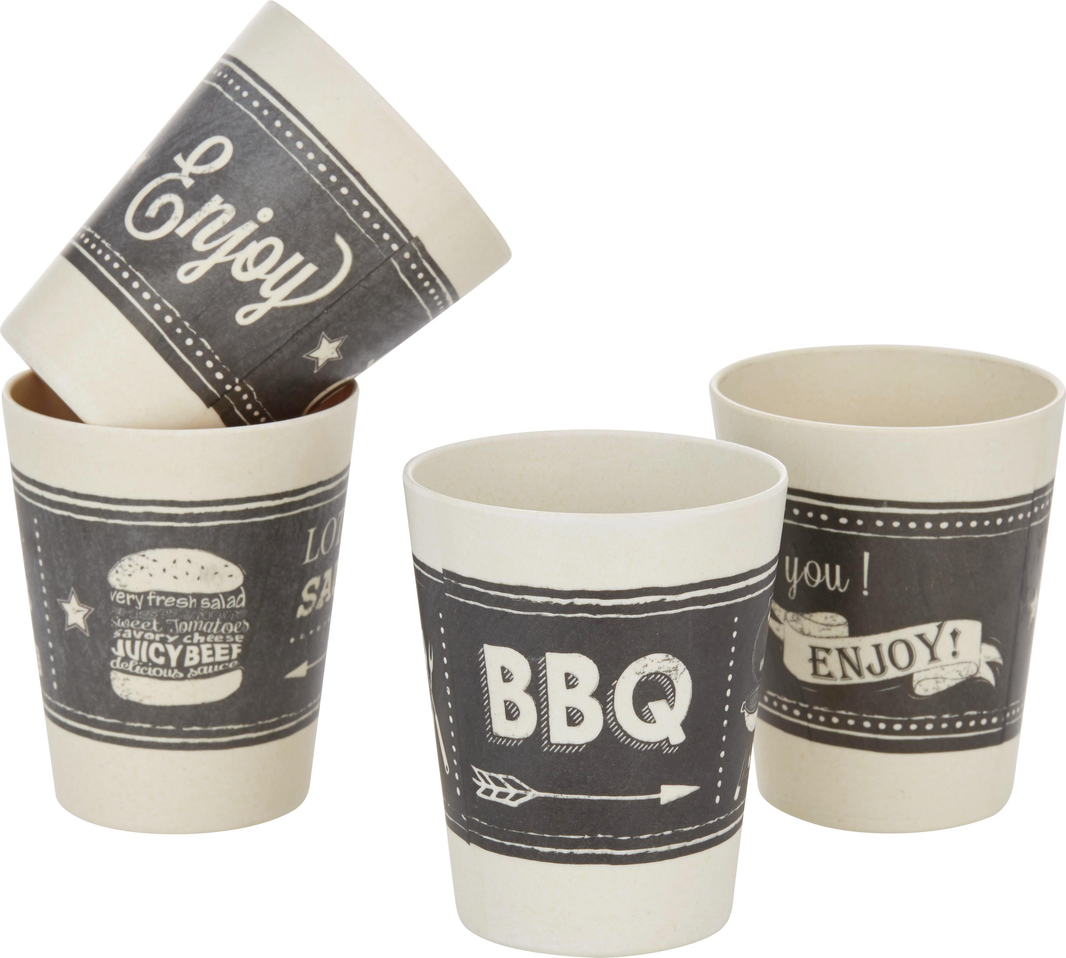 Trinkbecher BBQ in verschiedenen Motiven - Schwarz/Weiß, Kunststoff (8/10cm)
