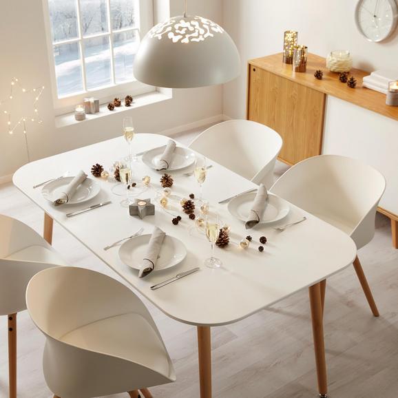 Esstisch in weiß ca. 160x90 cm 'Anuk' - Buchefarben/Weiß, MODERN, Holz (160/90/75cm) - Bessagi Home