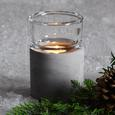 Teelichthalter Ambiente inkl. Glas Ø8,3; H 11,9 cm - Hellgrau, MODERN, Stein (8,3/11,9/8,3cm)