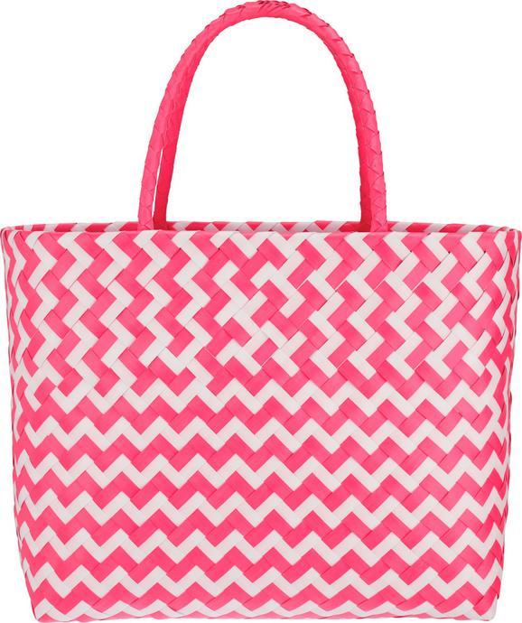 Nakupovalna Košara Kaia - roza/bela, Trendi, umetna masa (39/34/19cm) - Modern Living