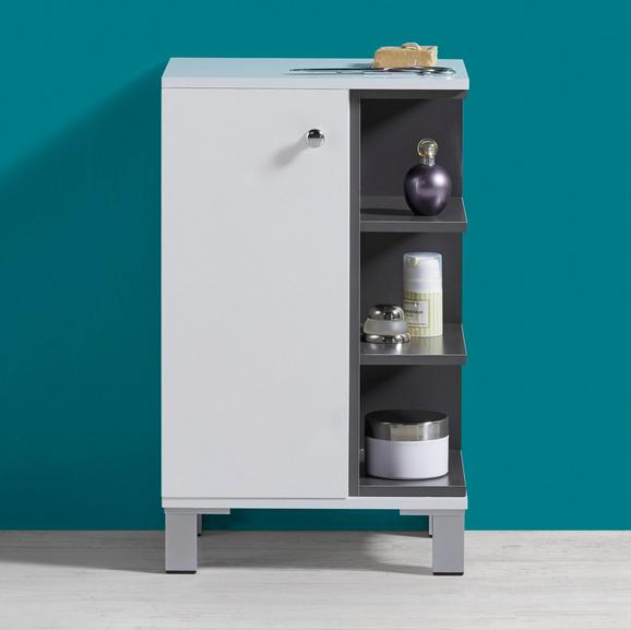 Badezimmerschrank Bianco - Dunkelgrau/Weiß, MODERN, Kunststoff (37/60/38cm) - Mömax modern living