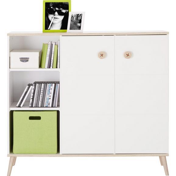 Visoka Komoda Billund - hrast/bela, Moderno, leseni material/les (125/111/40cm) - Modern Living