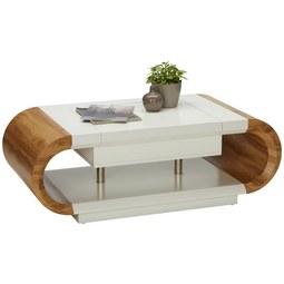 Couchtisch Weiß/Eiche - Eichefarben/Weiß, MODERN, Holzwerkstoff/Metall (120/42-67,5/60cm) - Modern Living