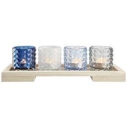 Teelichthalter Rory inkl. Gläser ca. 34/9cm - Multicolor/Naturfarben, MODERN, Glas/Holz (34/9/11cm) - Mömax modern living