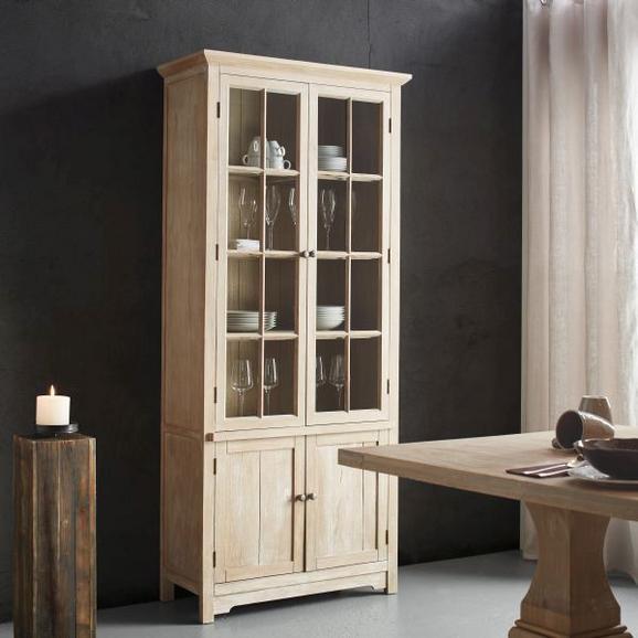 Highboard Savannah - Kieferfarben, ROMANTIK / LANDHAUS, Glas/Holz (88/198/39cm) - PREMIUM LIVING