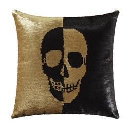 Zierkissen Skull in Schwarz/Goldfarben - Goldfarben/Schwarz, Trend, Textil (45/45cm) - Premium Living