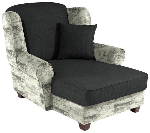 Fotelja Living - bijela/tamno siva, Romantik / Landhaus, drvo/tekstil (120/98/138cm)