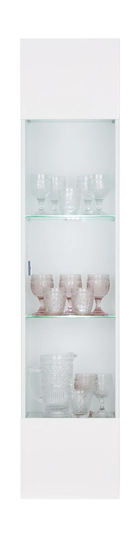 Hängevitrine Weiß Hochglanz - Chromfarben/Weiß, Holzwerkstoff/Kunststoff (35/160/30cm) - Mömax modern living