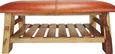 Garderobenbank Manki - Hellbraun/Braun, KONVENTIONELL, Leder/Holz (101/45/39cm) - Premium Living
