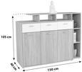 Komoda Tom - aluminij/bela, Moderno, umetna masa/les (150/105/40cm) - Mömax modern living