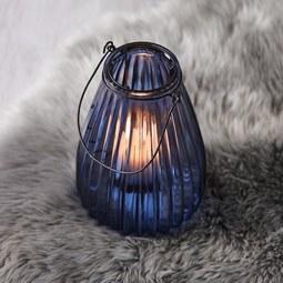 Windlicht in Blau Ø/H: ca.14,5/21,7cm 'Svenjia' - Blau/Schwarz, MODERN, Glas/Metall (14,5/21,7cm) - Bessagi Home