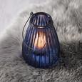 Windlicht Svenjia Ø/H ca. 14,5/21,7 cm - Blau/Schwarz, MODERN, Glas/Metall (14,5/21,7cm) - Bessagi Home