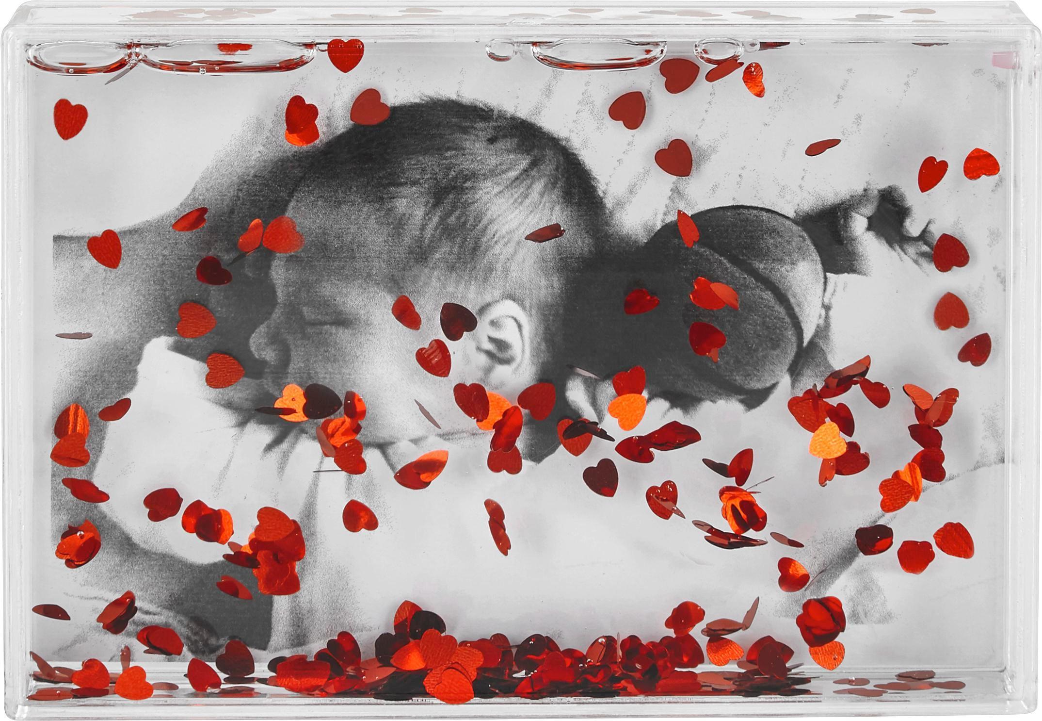 Fotorahmen Valentin ca. 16x11cm - Rot/Weiß, ROMANTIK / LANDHAUS, Kunststoff (16/2,7/11cm) - MÖMAX modern living