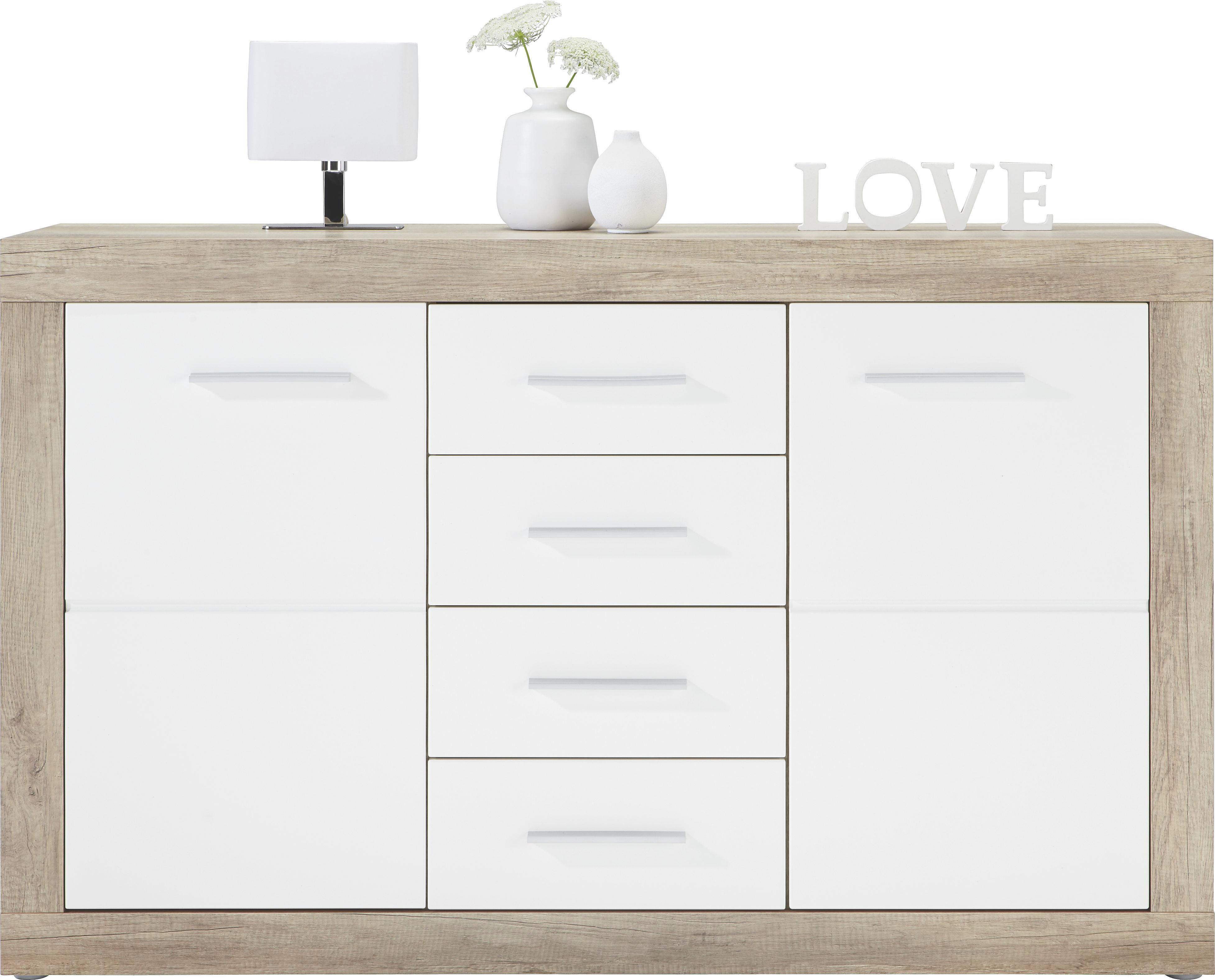 Kommode in Weiß/canyon Grey - Chromfarben/Weiß, MODERN, Holzwerkstoff/Kunststoff (138/86/40cm) - MÖMAX modern living