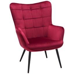 Relaxsessel aus Samt in Rot - Rot/Schwarz, MODERN, Textil/Metall (72/98/80cm) - Modern Living