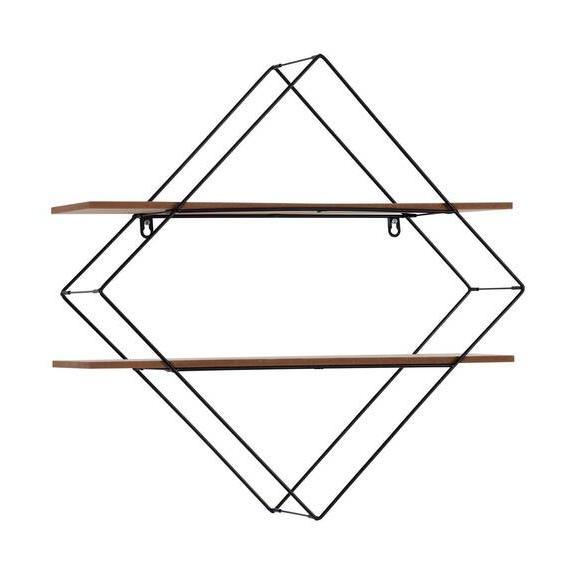 Raft De Perete Rom 2 - culoare coconar/negru, Modern, compozit lemnos/metal (60/60/15cm)