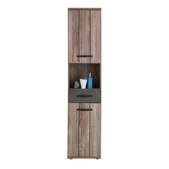 Hochschrank Kieferfarben/Dunkelgrau - Dunkelgrau/Schwarz, MODERN, Holzwerkstoff/Kunststoff (41/183/35cm) - Mömax modern living