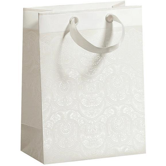 Darilna Vrečka Ornament - bela, Romantika, papir (17/22,5/9cm)