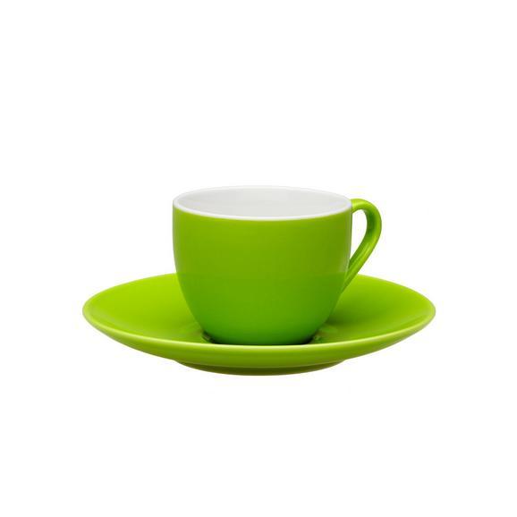 Skodelica S Krožničkom Sandy - zelena, Konvencionalno, keramika (6,4/5cm) - Mömax modern living