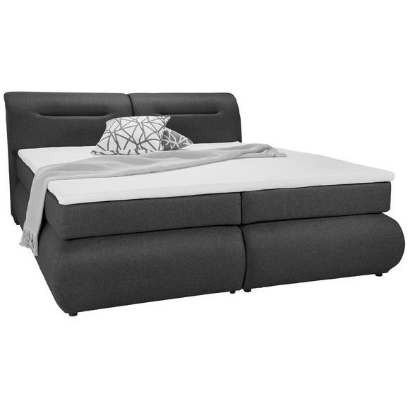 Boxspringbett in Anthrazit ca. 140x200cm - Anthrazit/Schwarz, Kunststoff/Textil (240/150/100cm) - Premium Living