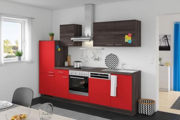 Kuhinjski Blok Win/plan - rdeča/hrast, Moderno, leseni material (280cm) - EXPRESS