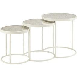 Satztisch in Weiß - Weiß, ROMANTIK / LANDHAUS, Glas/Holz (47/42/37/50/45/40cm) - Premium Living