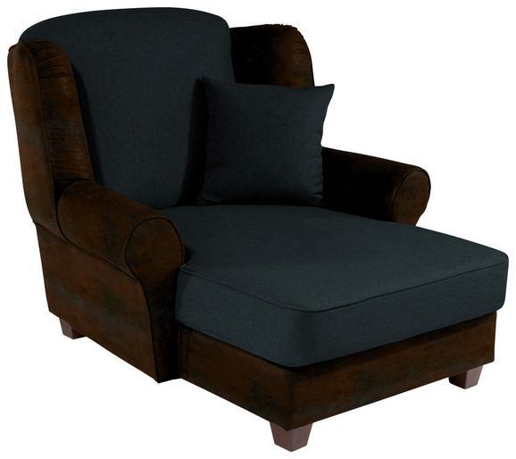 Fotelja Living - tamno smeđa/crna, MODERN, drvo/tekstil (120/98/138cm)