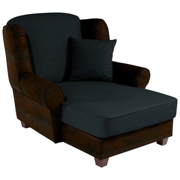 Fotelja Living - tamno smeđa/crna, Romantik / Landhaus, drvo/tekstil (120/98/138cm)