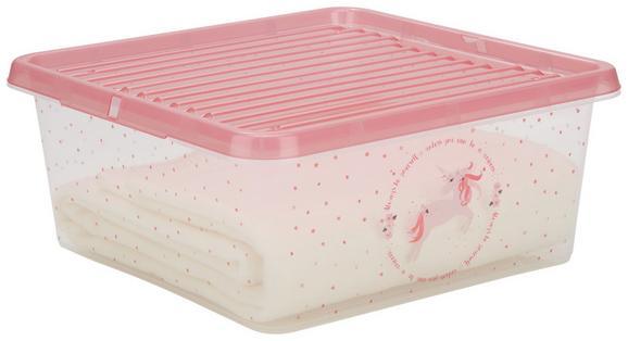 Box mit Deckel Einhorn Rosa - Transparent, Kunststoff (39/39/17cm)