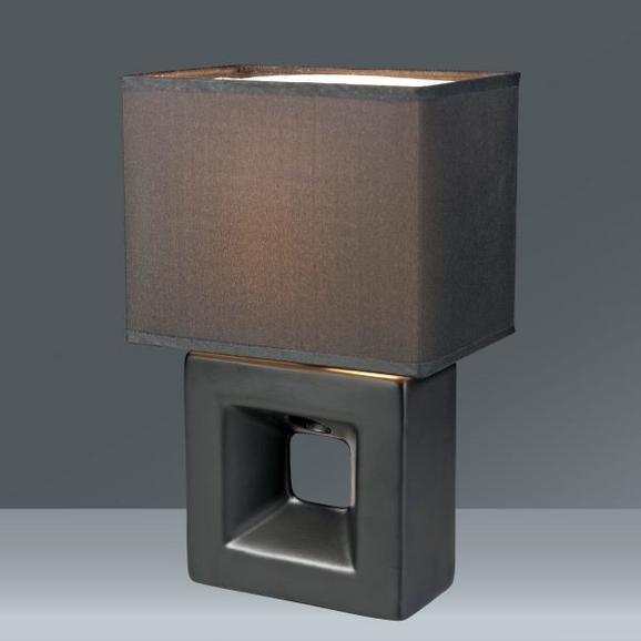 Tischleuchte Quadro, max. 40 Watt - Schwarz, Keramik/Textil (17/12/28cm) - MÖMAX modern living