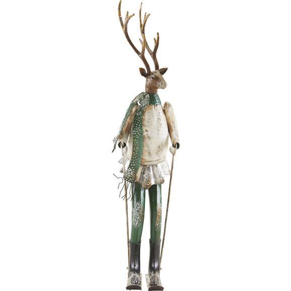 Dekohirsch in Multicolor H ca. 65,5 cm 'Skihaserl' - Silberfarben/Weiß, MODERN, Metall (15,9/20,3/65,5cm) - Bessagi Home