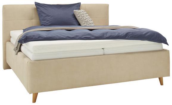 Polsterbett Creme 160x200cm - Eichefarben/Beige, KONVENTIONELL, Holz/Textil (160/200cm) - Premium Living