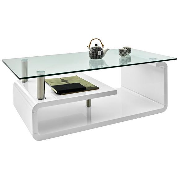 Couchtisch in Weiß - Klar/Weiß, MODERN, Glas/Holzwerkstoff (120/40/65cm) - Modern Living