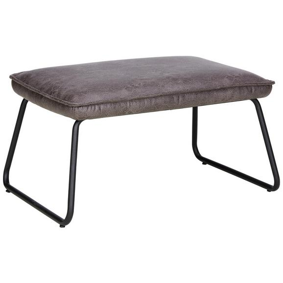 Hocker in Anthrazit/Schwarz - Anthrazit/Schwarz, LIFESTYLE, Textil/Metall (62/34/43cm) - Modern Living