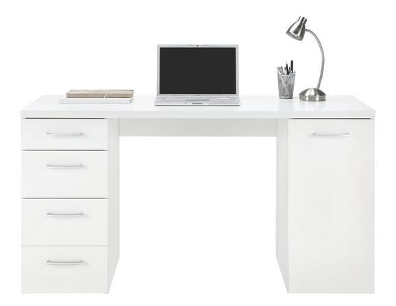 Schreibtisch Weiß - Alufarben/Weiß, MODERN, Kunststoff (139/74/60cm) - Mömax modern living