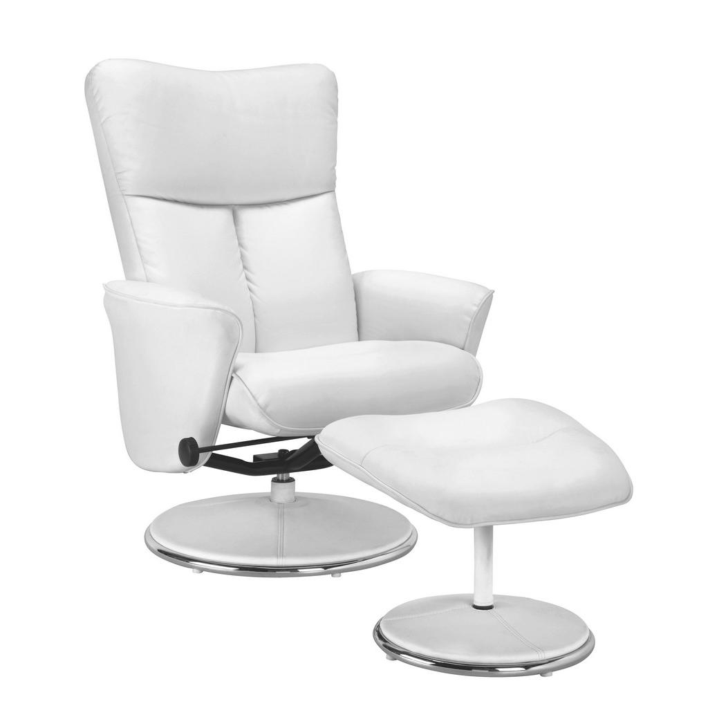 Relaxsessel in Weiß mit Hocker