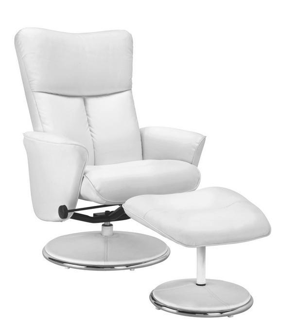 Relaxsessel in Weiß mit Hocker - Silberfarben/Weiß, Holz/Kunststoff (75/100,5-88,5/84-111cm) - Premium Living