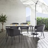 Gartenset AAda inkl. Auflagen - Hellgrau/Grau, MODERN, Kunststoff/Textil - Modern Living