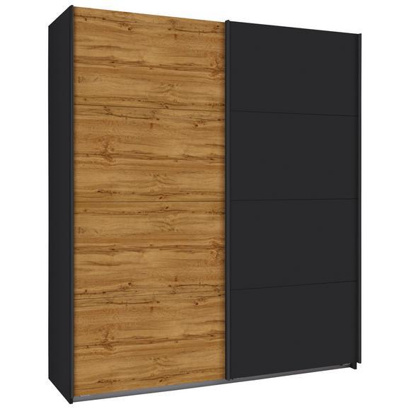 Schwebetürenschrank in Eichefarben/ Graphit - Eichefarben, KONVENTIONELL, Holzwerkstoff/Metall (181/210/62cm) - Modern Living