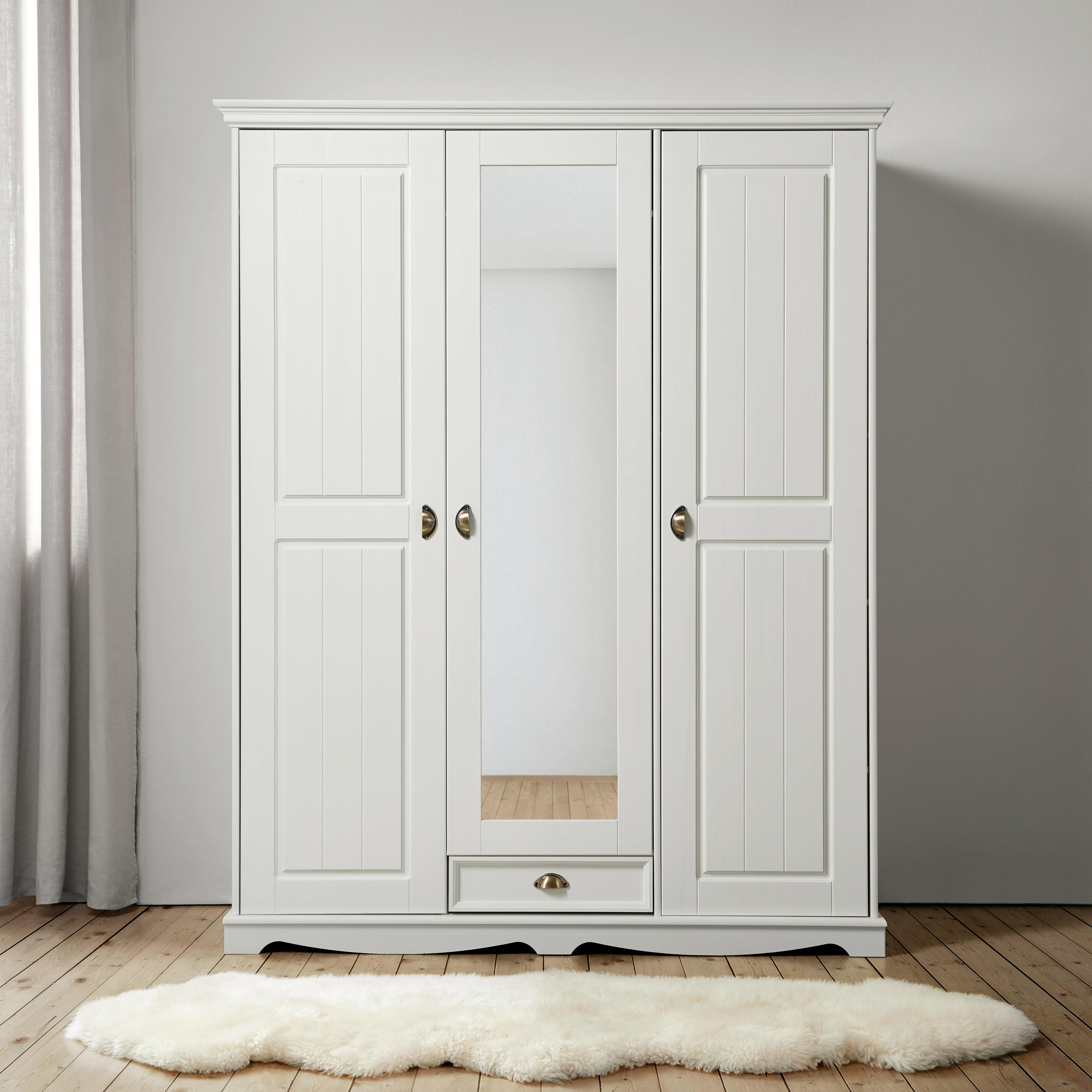 Kleiderschrank Claudia - Weiß, Holz/Metall (156/194/59,5cm) - PREMIUM LIVING