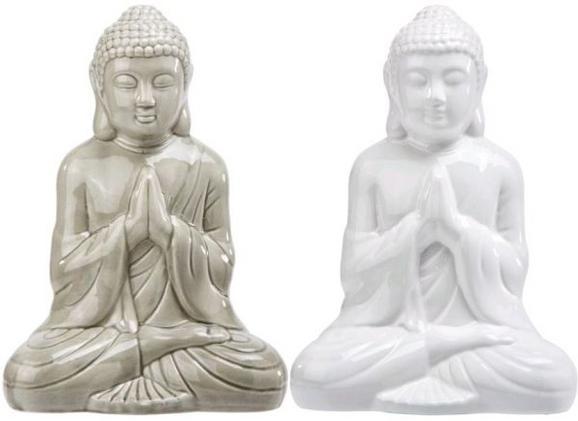Dekoráció Buddha - Zöld/Fehér, Lifestyle, Kerámia (20cm) - Mömax modern living