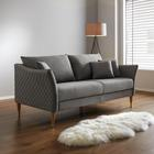 Sofa Valeria Dreisitzer inkl. Rückenkissen & Kissen - Hellgrau, MODERN, Holz/Textil (192/75/93cm) - Modern Living