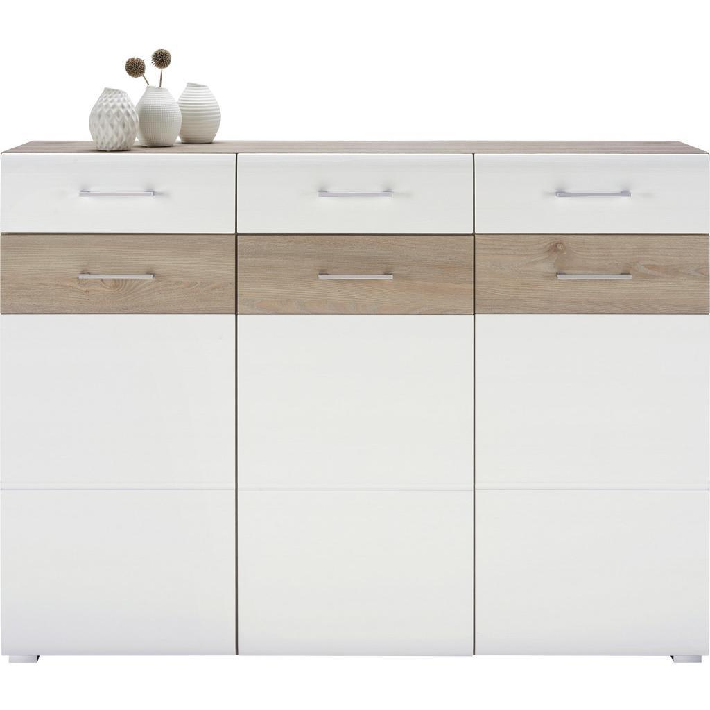 Sideboard Silbereiche/Weiß