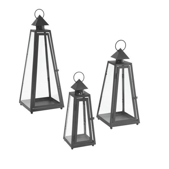 Laterna Wendy - 3-delni Set - črna/prozorna, Romantika, kovina/steklo - Mömax modern living