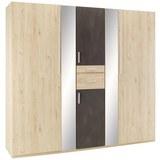 Drehtürenschrank in Eichefarben - Eichefarben/Alufarben, KONVENTIONELL, Holzwerkstoff/Kunststoff (225/208/58cm) - Modern Living