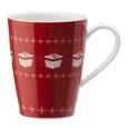 Kaffeebecher aus Porzellan 300 ml ''X-Mas'' - Rot/Weiß, KONVENTIONELL, Keramik - Vivo