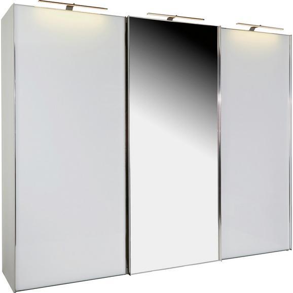 Omara Z Drsnimi Vrati Sonate Rom - bela/krom, Moderno, kovina/leseni material (280/222/68cm) - Premium Living